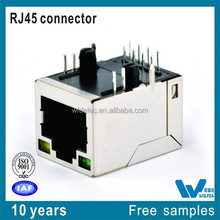 8P4C pitch1.27 0.35 Thickness with LED Shield Ethernet RJ45 Connector