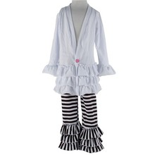 2015 summer unique boutique ruffle sexy dress and stripe pants outfit for girl