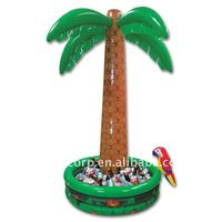 inflatable palm tree shape ice barrel as beverage cooler