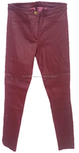 2015 moda para mujer elástico de ajuste hermético cordero leaather <span class=keywords><strong>pantalones</strong></span>