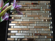 Interior Wall Decor Random Strip Glass Blend Stainless Steel Mosaic Tile For Hotel