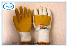 Rubber Palm Working Gloves/yellow Laminated Latex safety hand Gloves en388