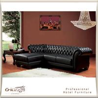 Italian 3 Seater Hotel Chesterfield Leather Sofa Black