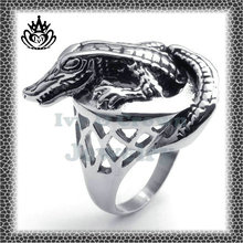 2014 lasting fashion design gothic style stainless steel STJZ341 crocodile shape hollow out ring for men