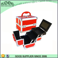 OEM fashion cheap red aluminum cosmetic case