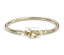 18k Yellow Gold Color Snake Chain 925 sterling silver bracelet