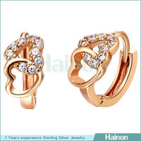 double heart shape earring plated rose gold paved zircon