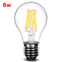 E27 8w 360Degree 800lm A19 A60 dimmable led filament lamps bulbs lights AC 110V / 220V