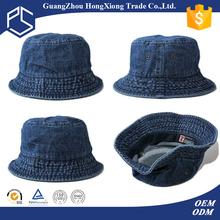 Guangzhou hongxiong cheap custom floppy pure denim design bucket hat