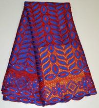 Diseño moda de encaje tela de tejido de poliéster bolas cordón de la perla de la tela
