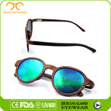 7 Layers Wood Frame Solid Sunglasses for Holiday Round Wood Bamboo Sunglasses