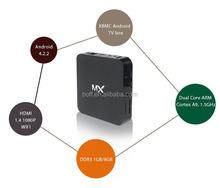 Factory wholesale MX andriod tv box Android 4.2 Amlogic 8726 Quad Core android tv box 4k decoding ,Octa GPU 2G 8G