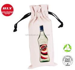 Customized Promotional Drawstring Canvas Wine Bottle Tote Bag