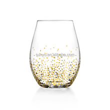 Dubai high quality gold spot decal stemless wine glass manufacture customized promotion
