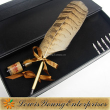 Fountain feather pen with pen holder and ink