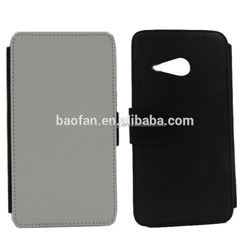 Factory Made Customize Sublimation Blank Leather Flip Cover for for HTC M8 Mini Wallet Leather Sublimation Case