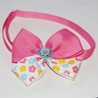 Pink&White Cat Necktie with Ceramics Heart and 1 CM Ribbon 20-36CM Control Size Pet Bow Tie Fashion Design V1165