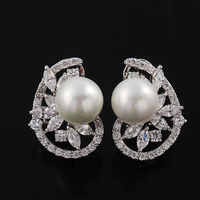 3 Color Platinum Plating AAA+ Cubic Zirconia Party Mermaid Pearl Clip For Women