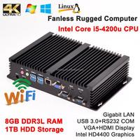 Intel Core i5 4200u Samsung DDR3L 8G High RAM 1TB HDD Mini industrial computers rugged Desktop All in one PC+HD 4K+Wifi