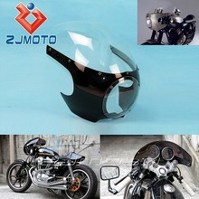 "5 3/4"" Bright Black + Clear Motorcycle Front Headlight Fairing&Windshield Universal For For Custom Sportster Dyna Cafe Racer"