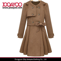 Elegant Women Ladies Khaki Belt Buttons Long Trench Woolen Coat