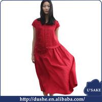 U'sake latest ladies design new blasting product red sportive longuette women flower crocheted design dress