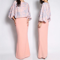 wholesale china factory latest design floral print fashion ladies 2014 design baju kurung