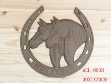 antique brown cast iron horse head welcome brand - garden decoration