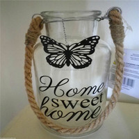 Glass Bottle Vase with Metal Butterfly & rope