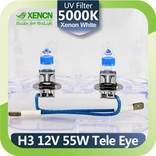 Automotive Bulbs Source XENCN H3 PK22S 5000K 12V 55W Teleeye Intense Light Car Headlights UV Filter Halogen Lamp Xenon Looking