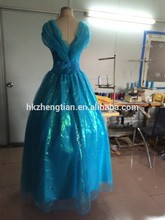 Instyles new blue ladies brocade with bow cinderella costume sexy lingerie