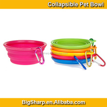 Food Grade Collapsible Dog Bowl with Carabiner Colorful Travel Bowls Cat Feeder FB0014C