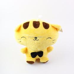 Yellow happy japanese cat plush toy long tail plush cat toy wholesale china