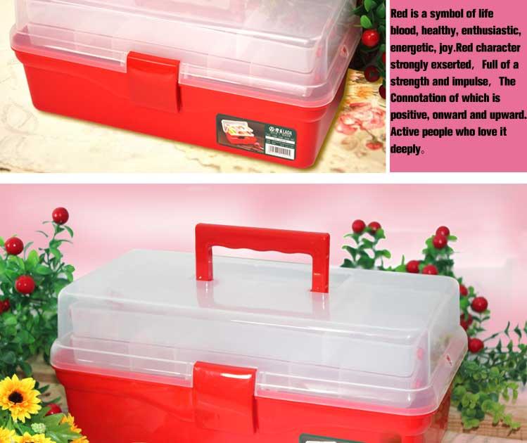 laoa 14.5 인치 블루 컬러 다기능 투명 세 층 도구 케이스, 도구 상자 캐비닛, 스토리지 키트 플라스틱 도구 상자