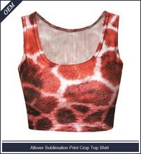 Custom dye sublimation all over print tank top leopard print crop tank top