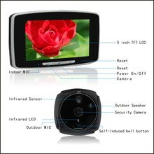 "GSM door viewer viewer with 5"" touch panel/MMS alarm/mobile intercom/record photo and video"