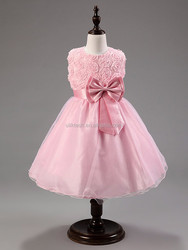 summer fashion design small girl flower pink summer fashion dress wedding dress