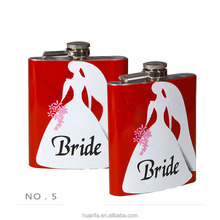 6oz stainless steel metal body decal printing Bride and groom wedding hip flask