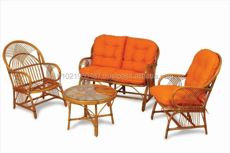 Balcony Natural Bamboo Rattan Living Sets Wood Outdoor