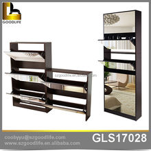 Crazy online selling mirrored wooden shoe cabinet, wooden shoe organizer