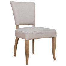 Beige Linen Upholstered Solid Wood Leg French Louis Chair