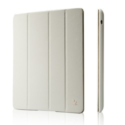 Jisoncase micro fiber cases for iPad 4 leather smart case magnetic case Wholesale fast shipping white cover for iPad 4