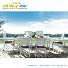 Square rattan material catering tables and chairs for 6 person