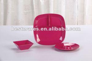 Красный квадрат , разделенный меламин секционные тарелку с логотипом