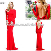Tarik Ediz 2015 Sexy Backless Red Ladies Long Party Wear Gown ED352 Turkish Evening Dresses Mermaid Evening Dress