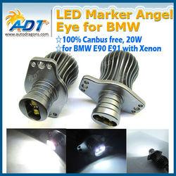 20W 7000K HID Headlight LED Marker Angel Eye Light Lamp Halo Rings Bulbs For BMW E90 E91 05-08