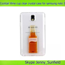 Cocktail wine cup liquid clear crystal phone case for samsung galaxy note 3 , for samsung galaxy note 3 case crystal