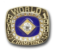 Blue enamel filled on baseball trophy championship ring with good quality and reasonable cost