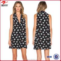 2015 Hot sale women fashion V-neck knee length floral printed dress