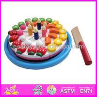 Hot sale high quality cake set,new and Popular Wooden cake set,Role Play Set-Fruit Slicing cake Set W10B068
